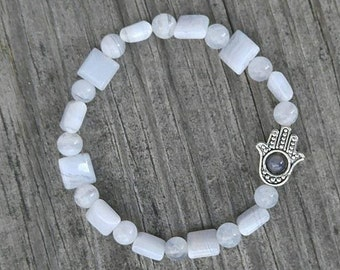 Ahimsa Chalcedony stretch bracelet with a hint of  Blue Lace Agate