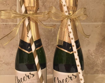 Personalized Mini Champagne Labels for Weddings, Engagements, Celebrations