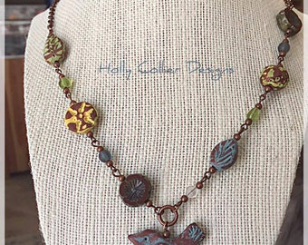 Hand Carved Bird and Bead Polymer Clay Copper Necklace. Glass Beads. Nature, Mothers Day, Hand Painted