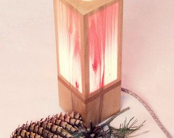 Lamp, Lighting, Table Lamp, Wood Lamp, Wooden Desk Lamp, Wood Table Lamp, Beech, Glowing Lamp, Blush, LED Warm Lamp
