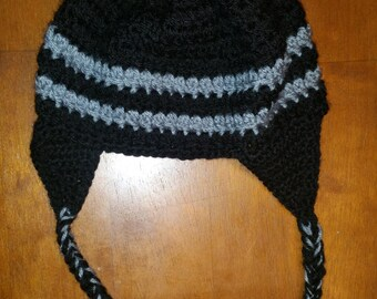 Crochet Black Earflap Hat with Grey Stripe, fits 3-6 years old