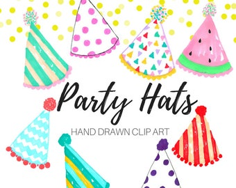 Party Hat Clip Art - Birthday Clip Art - Hand drawn clip art - Party clip art - Commercial Use