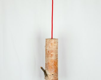 Rustic Modern Birch Pendant & Architectural Steel Light Fixture Chandelier, Adjustable