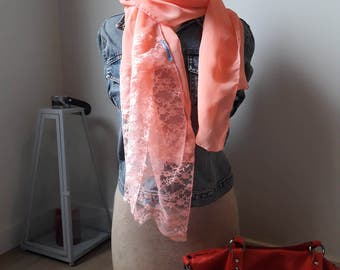 Pink lace scarf // Womens Scarf, Lace Scarf, Spring scarf, gift for mom