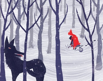 8x10 Little Red Riding Hood Art Print