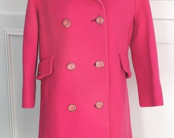 1960s Hot Pink Mod Vintage Double Breasted Coat (10059CL)