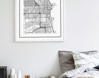 Chicago Map Print Chicago Poster Chicago Print Chicago City - Chicago il on us map