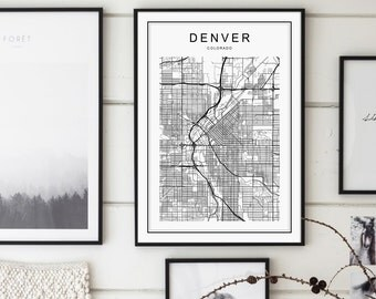Denver Map, Denver Colorado Map, Denver Map Print, Colorado Map, United States Map Print, Denver Colorado Black and White Map