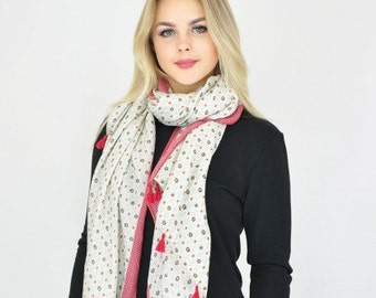 Tassel Red and Off White Scarf / Spring Scarf / Summer scarf / Gift for her / Scarves / Womens Scarves / Fashion Accessories / Gift Ideas