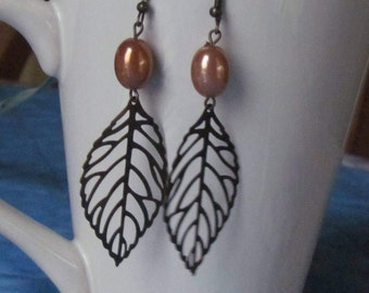 Antique Gold Leaf w/beads, Dangle Earrings