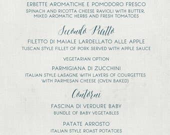 Rustic Italian wedding menu cards