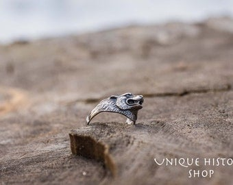 Wolf Head Ring Handmade Sterling Silver Unique Animal Jewelry