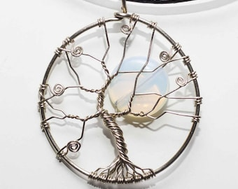 Necklace Tree of Life Opaline. Handmade. German silver.