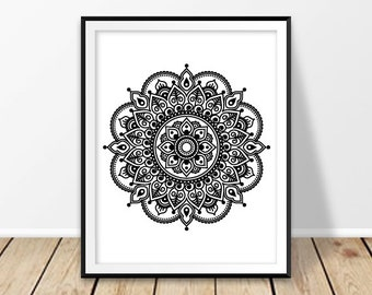 Home Decor Prints, Mandala Print, Mandala Poster, Boho Wall Art, Mehndi  Decor