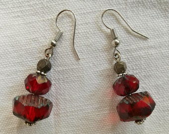 Red and Silver earrings / free shipping