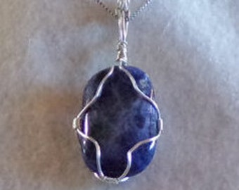 Blue wire wrapped pendant
