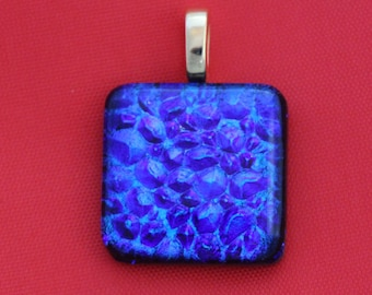 Blue and Purple Dichroic Glass Pendant