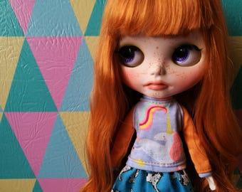 Orange Unicorn - Unicorn for blythe doll sweater