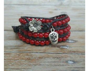 Red Coral Bracelet - Wrap Boho Bracelet - Leather Bracelet - Wrap Bracelet - Gift for Her - Gemstone Jewelry - Boho Bracelet - Red Bracelet