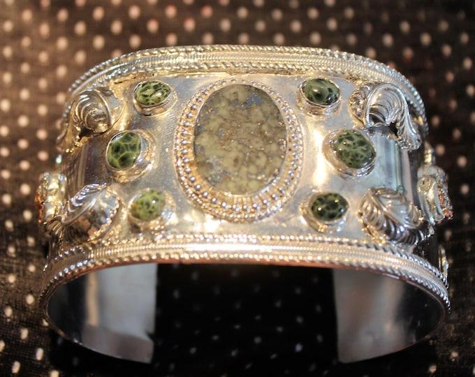 Mohawkite, Chlorastrolite (Greenstone),Half-breed (Silver/Copper) Sterling Silver Cuff Bracelet: MGHB-B1