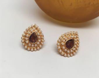 Ronak Series - purple  Kemp Stone 22K gold plated jhumka's/Bollywood/ Temple/Saree/Festive Earrings/gorgeous