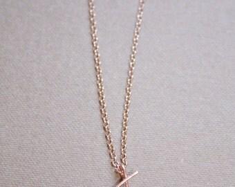 Letter J Necklace, Rose Gold Initial Necklace, Cursive Letter Necklace, Lowercase Initial Necklace, Personalized Necklace, Di & De