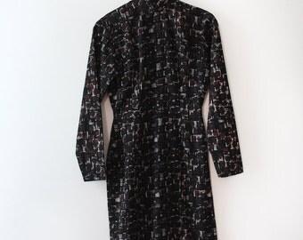 vintage 1960s Cheongsam dress // 60s Mid Century printed cheongsam wiggle dress
