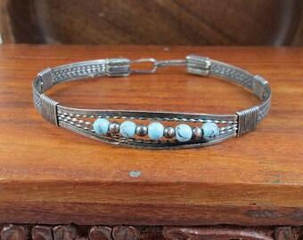 Sterling Silver Southwestern Gemstone Bracelet - Antique/Vintage
