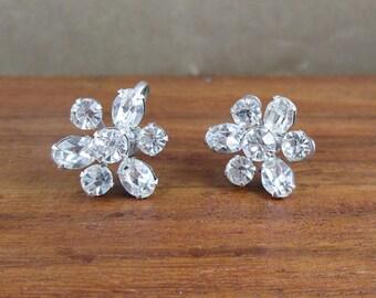 1940 Signed Coro Rhinestone Earrings - Vintage