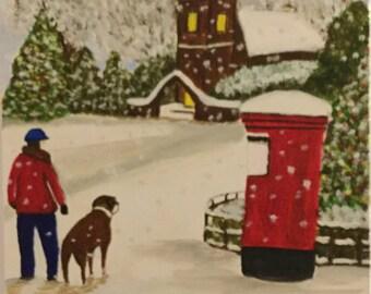 Man and dog snowscene