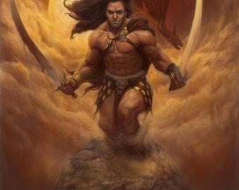 Barbarian & Dragon Print - Signed  Illustration