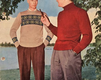 Vintage Patons Knitting booklet no. 493 - Men's jumpers and cardigans - Bluebell Crepe