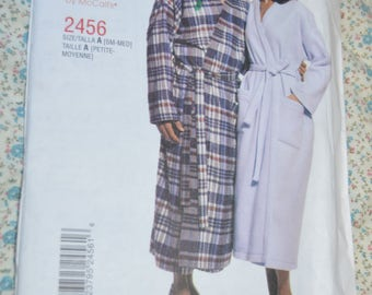 Stitch N Save 2456  Misses Mens or Teen Boys Robe and Belt Sewing Pattern  - UNCUT - Size Sm - MEd