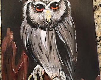 Majestic Owl Painting Acrylic on 9x12 canvas sad eyes