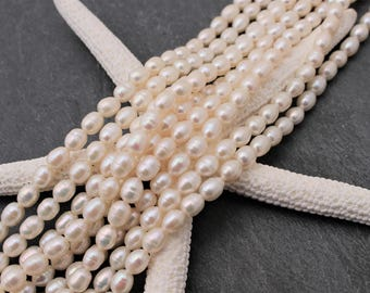 Freshwater Pearl Beads - 6mm - 7mm. Beautiful Sheen, Ivory White. Rice Shaped. Half or Full Strand.