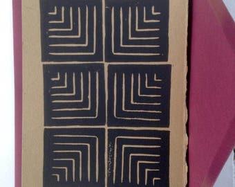Lino printed card, pattern