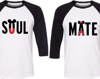 Couple Mickey & Minnie Soul Mate Baseball T Shirt