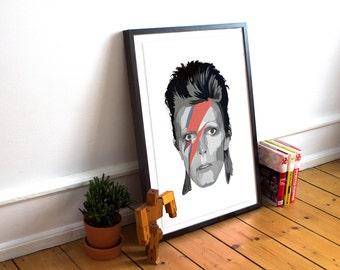 David Bowie Print / music legend / Aladdin Sane / Ziggy Stardust / Art Poster Print / Selective Colour