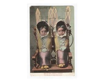 Digital Native American Indians Children in Papooses Vintage Postcards, Printable Vintage Ephemera, Digital Images 1930