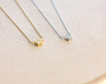 Shining Star Necklace Cubic Pendant Silver/ Gold Plated Small  Necklace For Women/ Girls Jewelry