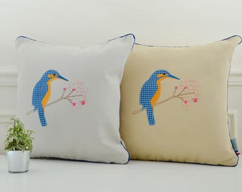 Embroidered Kingfisher cushion cover 16 x 16 inch, limited edition on grey or beige background