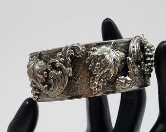 Gorgeous Clamp Style Silver Tone Bracelet with Grape Leaves Design