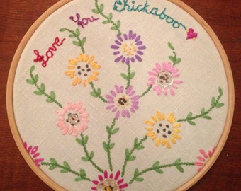 Embroidered Linen Hoop, Vintage Floral Linen, Valentines Gift, Children's, Nursery Art, Red Heart Motif, 'Love You Chickaboo'. Home Decor.