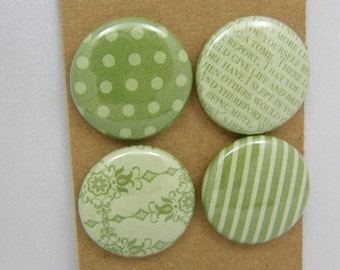 "Lot of 4 badges 1 ""patterns & Textures green series"