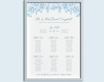 Classic Floral Wedding Table Plan | Wedding Seating Plan | Olivia Range