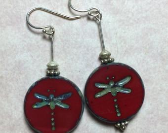 Dangle Earrings - Sterling Silver & Vintage Czechoslovakian Glass