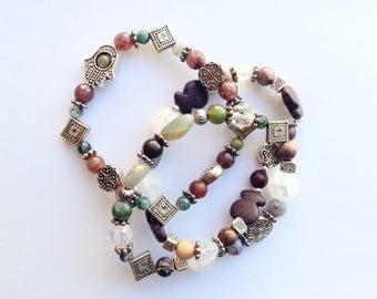 Set of Three Elastic Stacking Bracelets, Crystal Quartz, Silver