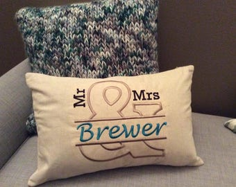 Mr. and Mrs. Personalized Embroidered Custom Pillow for Wedding or Housewarming Gift