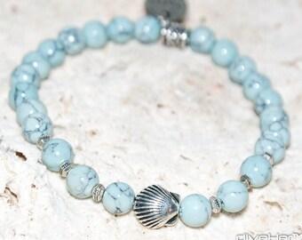 Light blue turquoise white jade bracelet pewter fish charm