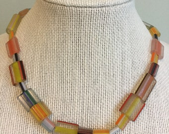 """Upcycled Vintage Beads - """"Stripes""""  Beaded Necklace - Jewelry Made with Vintage/ Recycled Materials"""
